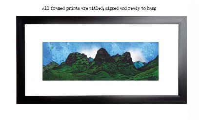 Framed print of the Three Sisters Of Glencoe, Aonach Dubh, Gearr Aonach, Beinn Fhada, Scottish highlands. Original Scottish landscape painting by Glasgow artist A Peutherer. Original mixed media painting in acrylic paint, spray paint, oil paint and acrylic ink on box canvas.