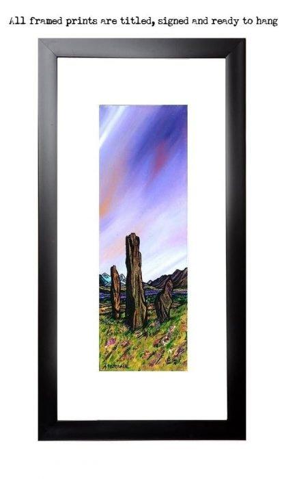 Framed print of The Machrie Moor Standing Stones, Isle of Arran, Scotland.