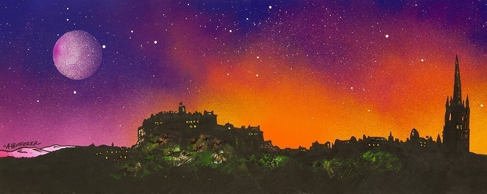 Painting Amp Prints Of Edinburgh Full Moon At Sunset Over