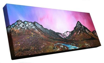Glencoe, Rannoch Moor & Buachaille Etive Mor, Scottish Highlands. from an original Scottish landscape painting by Glasgow artist A Peutherer. Original mixed media painting in acrylic paint, spray paint, oil paint and acrylic ink on box canvas.
