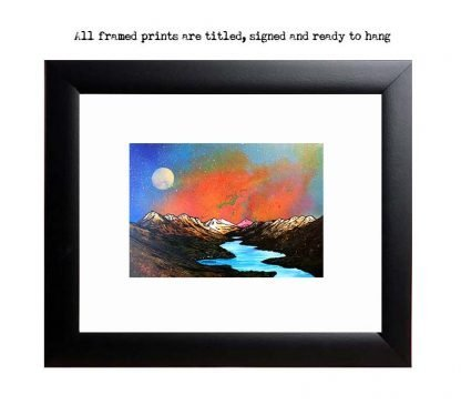 Framed print, picture of Loch Lomond from Luss Hills, Scotland, Highlands. rfom original painting.