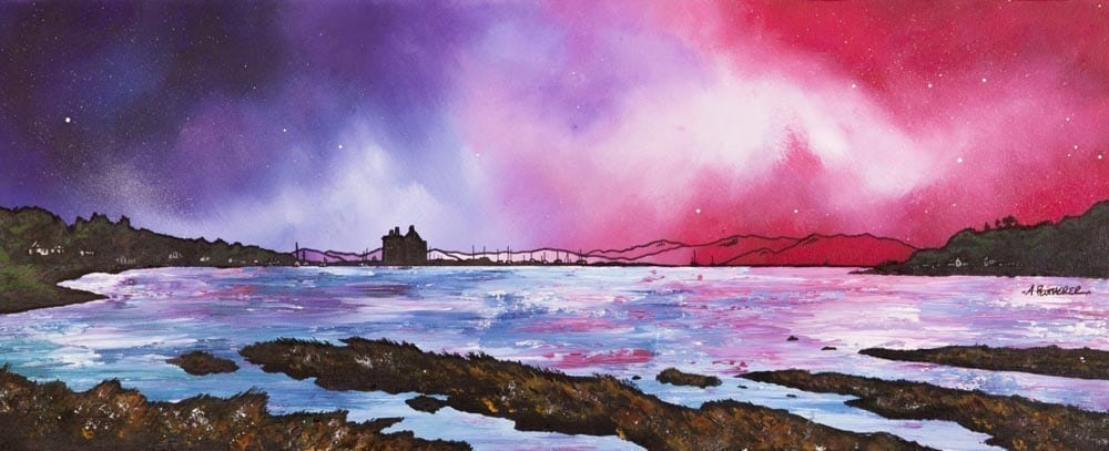 painting & prints of Arran, Lochranza Castle Loch Ranza, Scotland.