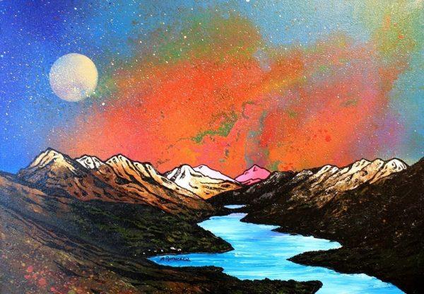 Paintings & prints of Loch Lomond painting & prints – Loch lomond Sunrise The Luss Hills, Scottish Highlands.