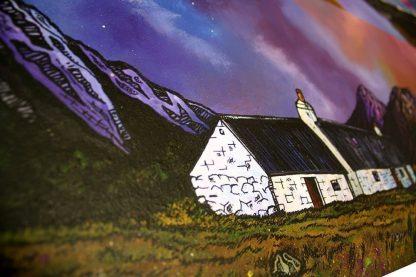 Painting close-up of Black Rock Cottage & Buachaille Etive Mor, Glencoe, Scottish Highlands.