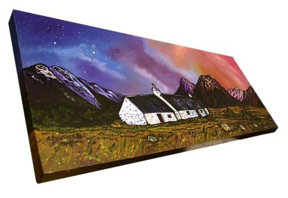 Painting of Black Rock Cottage & Buachaille Etive Mor, Glencoe, Scottish Highlands. original Scottish landscape painting by Glasgow artist A Peutherer. Original mixed media painting in acrylic paint, spray paint, oil paint and acrylic ink on box canvas.