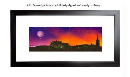 Framed print of edinburgh at sunset, Scotland by scottish artist A Peutherer