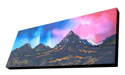 Rannoch Moor, Glencoe & Glen Etive by Scottish artist A Peutherer. Acrylic, oil paint & spray paint on box canvas, available framed or unframed or as a print.
