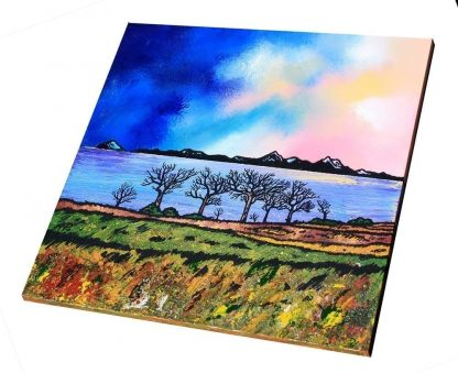 Isle of arran from ayrshire, painting & prints, Scottish Highlands. An original painting of Scotland by artist A Peutherer