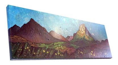 Glencoe, Glen etive, buachaille etive mor painting & prints by scottish artist andy peutherer. 3d view of original canvas painting.