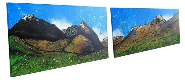 Commissioned Painting of Glencoe & the three sisters, scottish highlands. 2 large canvases with painting across both.