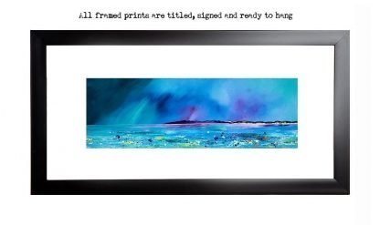 Framed prints of Balephuil Beach, Isle Of Tiree, Scotland. from an original Scottish landscape painting by Glasgow artist A Peutherer. Original mixed media painting in acrylic paint, spray paint, oil paint and acrylic ink on box canvas.
