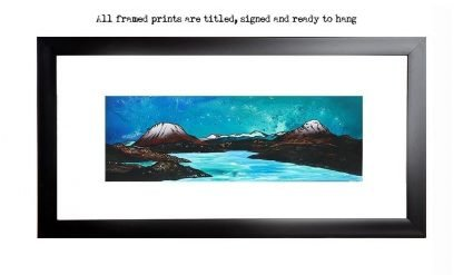 , framed print of Kinlochbervie, sutherland, scotland, Across loch Inchard towards Ben Arkle & Ben Stack from an original Scottish landscape painting by Glasgow artist A Peutherer. Original mixed media painting in acrylic paint, spray paint, oil paint and acrylic ink on box canvas.