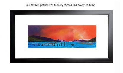 Loch ness, Dores framed print, from an original Scottish landscape painting by Glasgow artist A Peutherer. Original mixed media painting in acrylic paint, spray paint, oil paint and acrylic ink on box canvas.