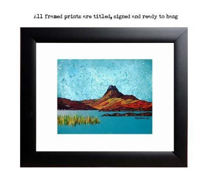 Stac Pollaidh, framed print, from an original Scottish landscape painting by Glasgow artist A Peutherer. Original mixed media painting in acrylic paint, spray paint, oil paint and acrylic ink on box canvas.