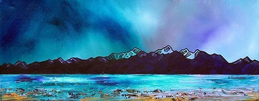 painting & prints of Arran & Goat Fell, Brodick, Scotland. from an original Scottish landscape painting by Glasgow artist A Peutherer. Original mixed media painting in acrylic paint, spray paint, oil paint and acrylic ink on box canvas.