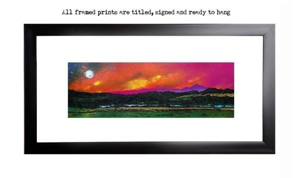 Framed print of the Benachie Sunset, loch Of Skene, Aberdeenshire, Scotland from an original Scottish landscape painting by Glasgow artist A Peutherer. Original mixed media painting in acrylic paint, spray paint, oil paint and acrylic ink on box canvas.