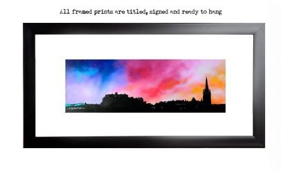 Edinburgh castle & skyline framed print from an original Scottish landscape painting by Glasgow artist A Peutherer. Original mixed media painting in acrylic paint, spray paint, oil paint and acrylic ink on box canvas.