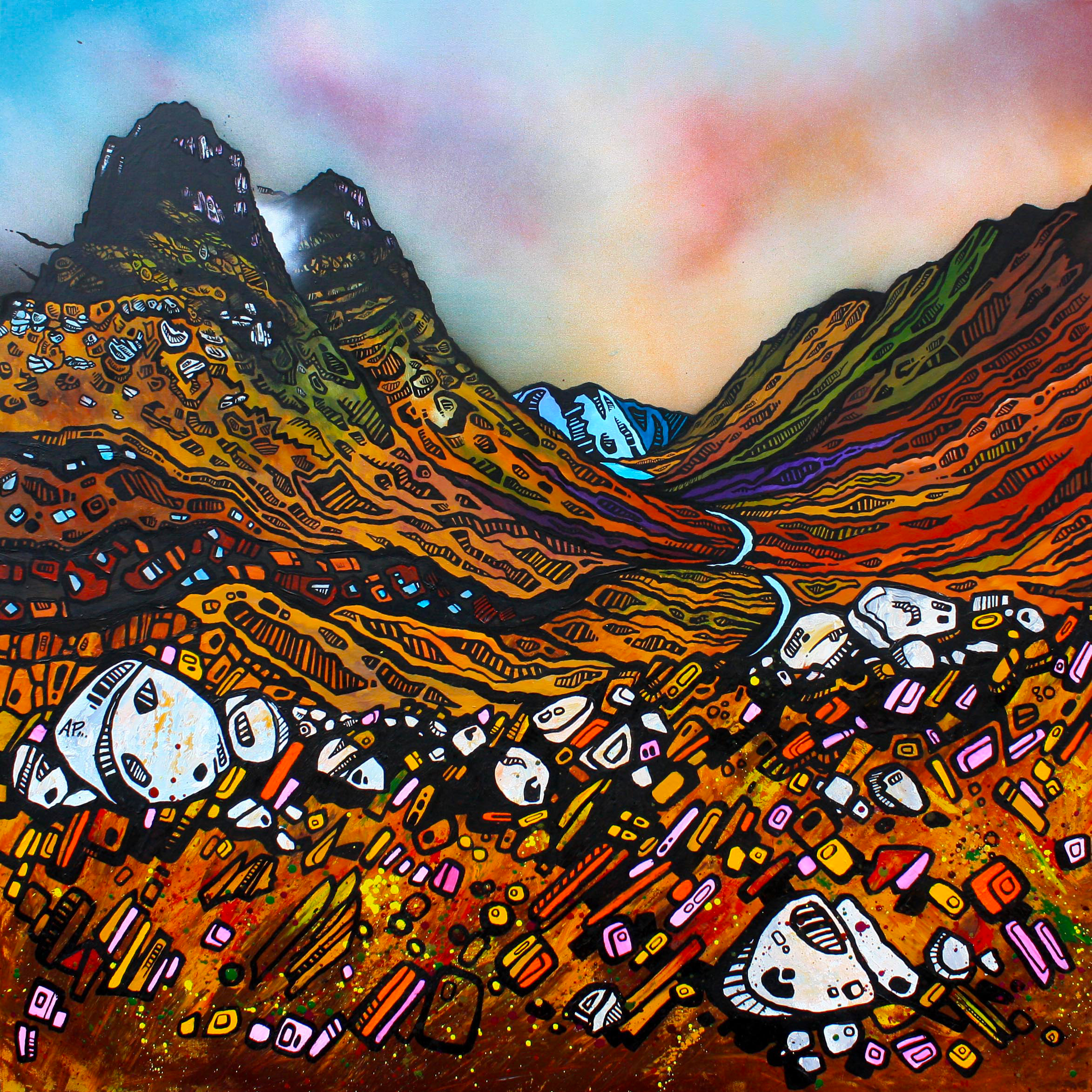 Glencoe & The three Sisters, painting & prints by Scottish artist A Peutherer. Acrylic, oil paint & spray paint on box canvas, available framed or unframed or as a print. original Scottish landscape painting by Glasgow artist A Peutherer. Original mixed media painting in acrylic paint, spray paint, oil paint and acrylic ink on box canvas.