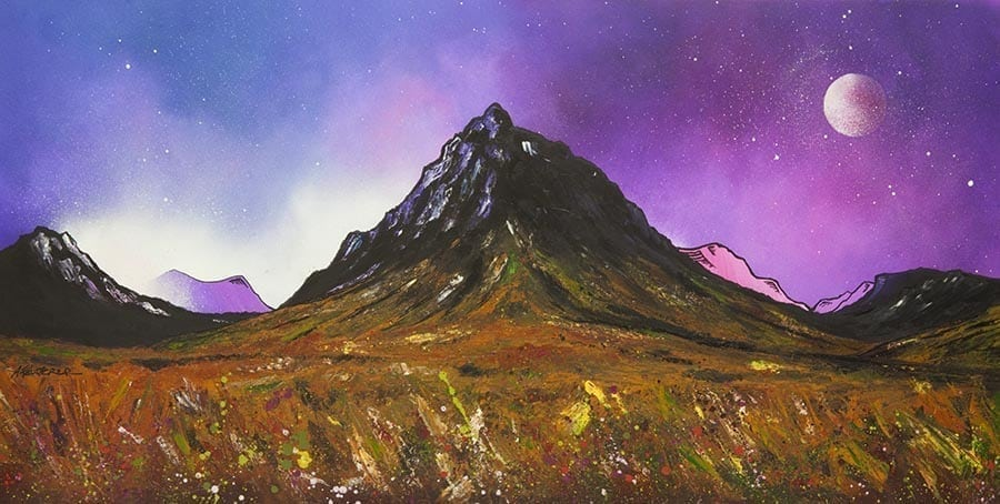Painting & prints of glencoe, glen etive & buachaille etive mor, scottish highlands. from an original Scottish landscape painting by Glasgow artist A Peutherer. Original mixed media painting in acrylic paint, spray paint, oil paint and acrylic ink on box canvas