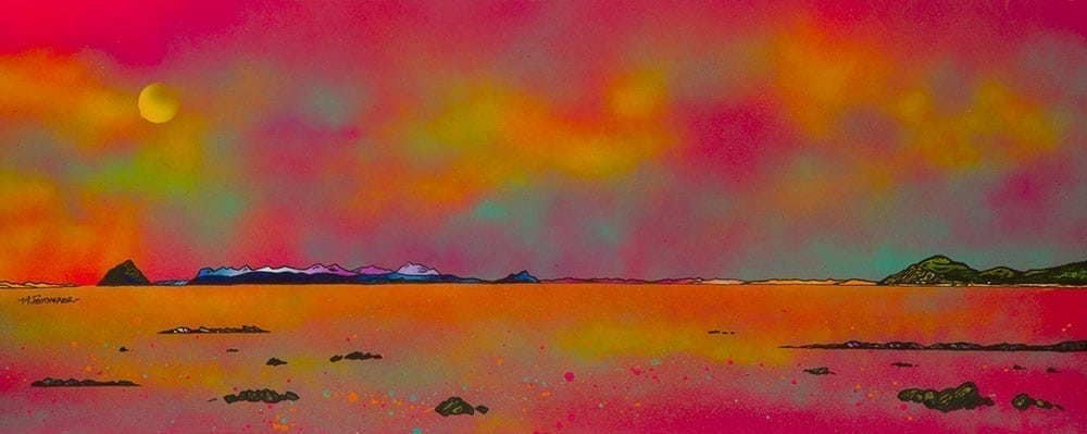 Painting and prints of Ailsa Craig, Arran and The Holy Isle From Ballantrae, Ayrshire, Scotland by scottish contemporary landscape artist A Peutherer
