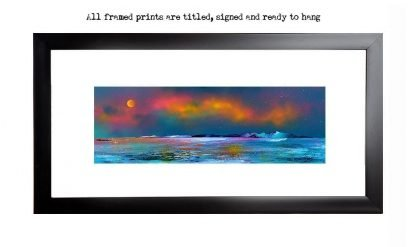 Arran,Framed print of Arran, Goatfell and The Holy Isle From Culzean Castle, Ayrshire, Scotland. Framed print by Scottish contemporary landscape artist A Peutherer