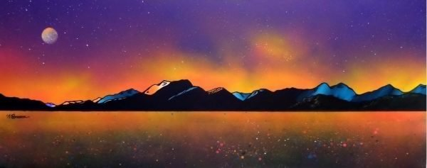 Paintings & prints of Ben Nevis Winter Glow Over Loch Linnhe From Craignure, Isle Of Mull, Scotland.