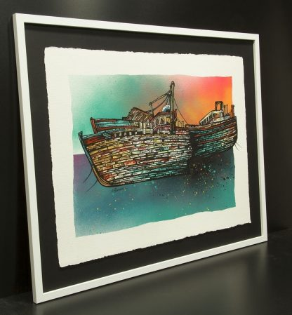 Painting of the Isle of mull trawler wrecks at Salen, Scotland, prints available to but as well as original