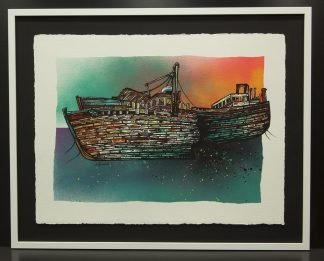 Salen Fishing trawler boat wrecks painting, isle of Mull, scotland, hebrides.