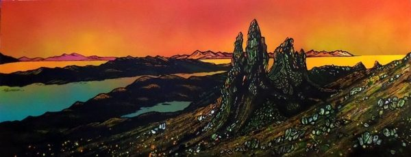 The Old Man of Storr, Skye - An original painting and prints from the original Scottish landscape painting by Contemporary artist Andy Peutherer