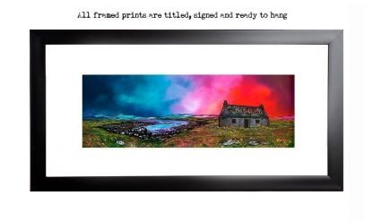 painting & prints of South Uist Croft House, Scotland, Hebrides, Scotland.