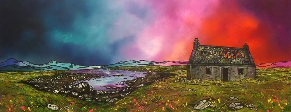 painting & prints of an Isle of South Uist Croft House, Scotland, Hebrides, Scotland.
