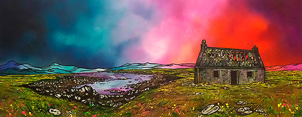 Commissioned painting of South Uist croft house, Hebrides, Scotland.