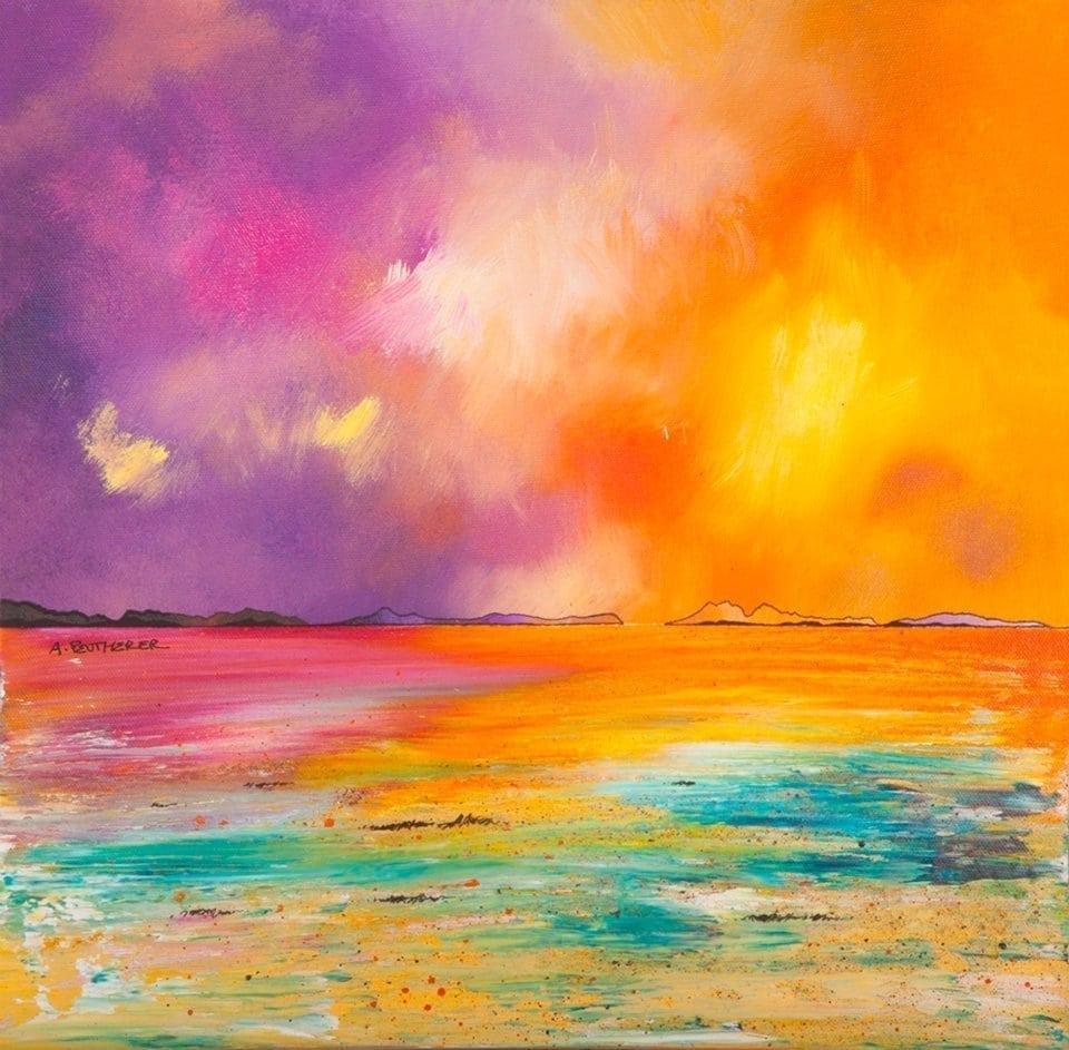 painting and prints of Camusdarach Beach, Rum and Eigg, Arisaig, Morar, Scotland, Scottish Highlands.