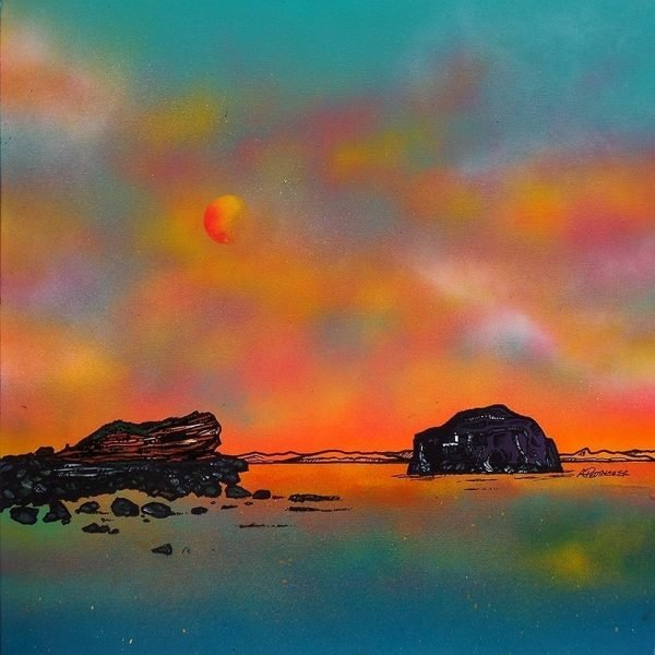 Scottish landscape Painting & prints of Seacliff Beach & The bass Rock, East Lothian, Scotland