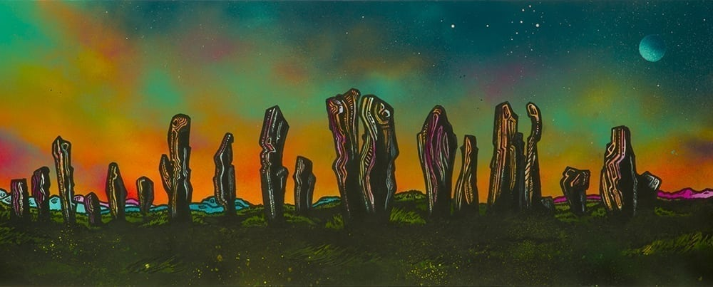 Callanish stones painting and prints, hebrides, scotland