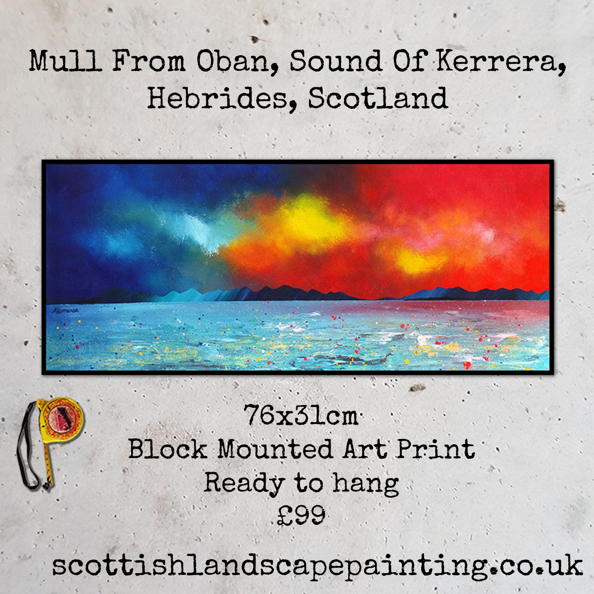 Mull from Oban across sound of Kerrera, Highlands Print & Painting