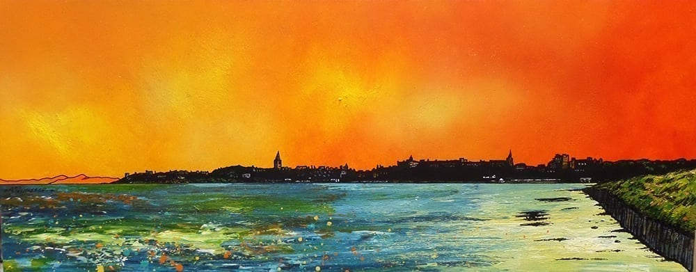 painting of St Andrew's Beach, Fife, Scotland. Prints also available.