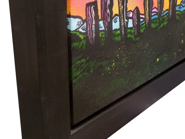 painting of The Callanish Standing Stones, Isle of Lewis, Outer Hebrides, Scotland. Close up of frame.