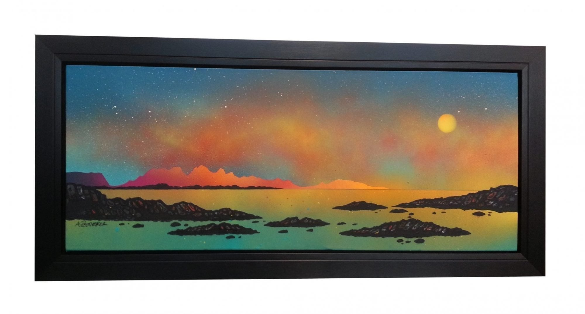 Painting & prints of Summer light Over Rum & Eigg, Arisaig, Scotland