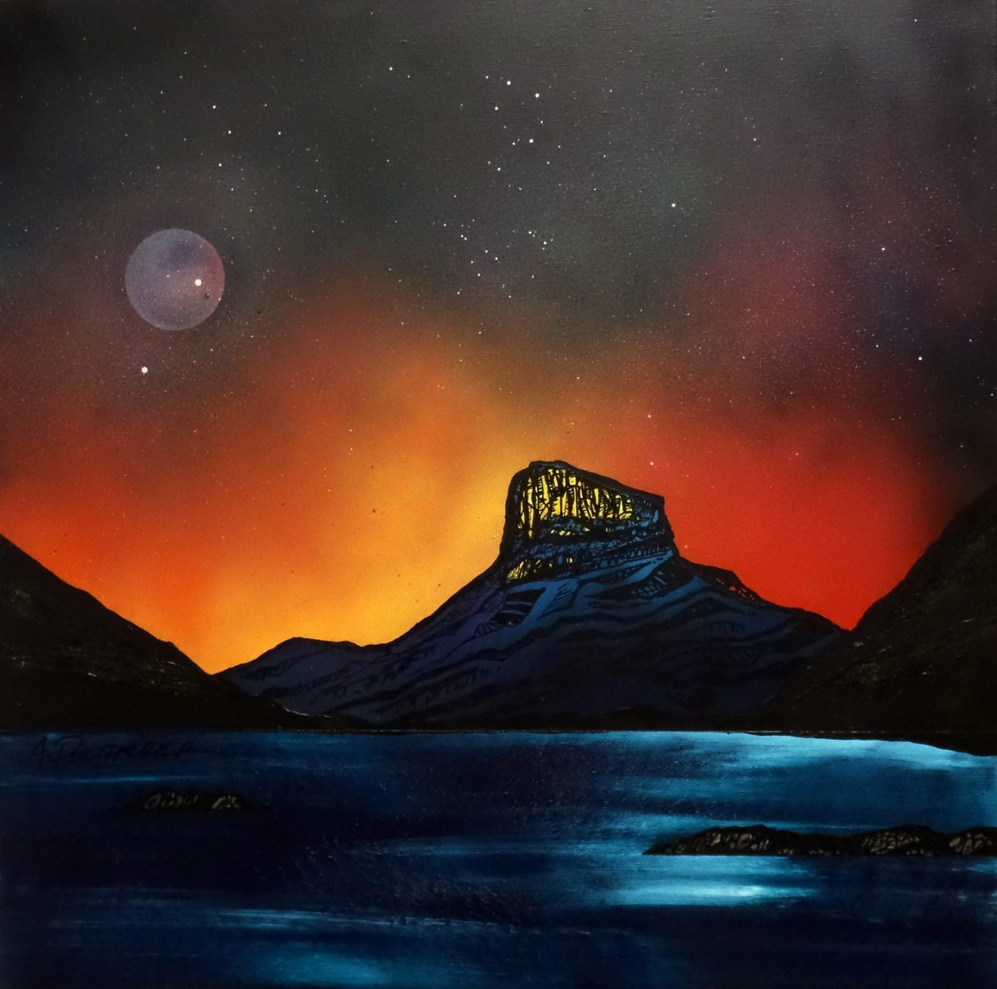 Stac Pollaidh, Inverpolly, Scotland - Original painting and prints by Contemporary Scottish landscape artist Andy Peutherer