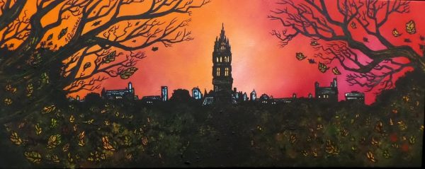Print Of The University Of Glasgow, Scotland. From an original commissioned painting.