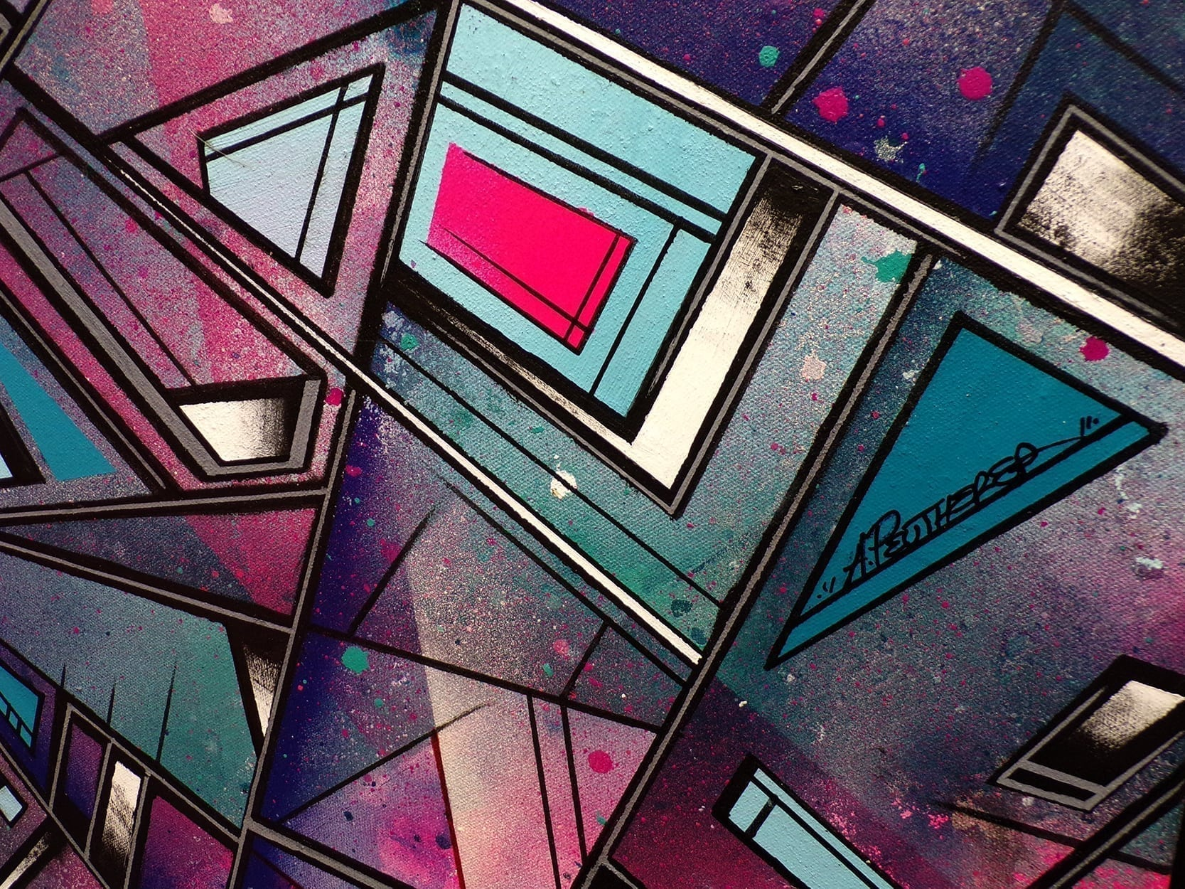 Streetskate 1 -An abstract geometric painting, detail image