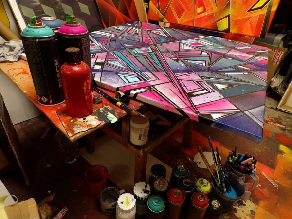 Streetskate 1 -An abstract geometric painting in progress