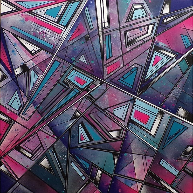 An abstract geometric painting inspired by architecture & skateboarding in the streets of Glasgow, Scotland.
