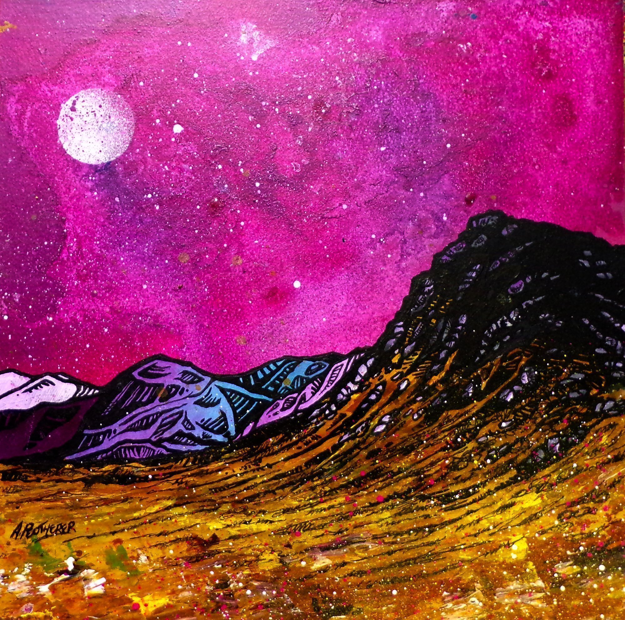 Glencoe skyscape painting and prints, Scotland. By Andy Peutherer