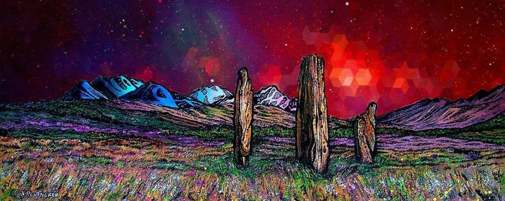 Nebula over Machrie Moor Standing Stones, Arran - Prints of original paintings by A Peutherer and M Campbell