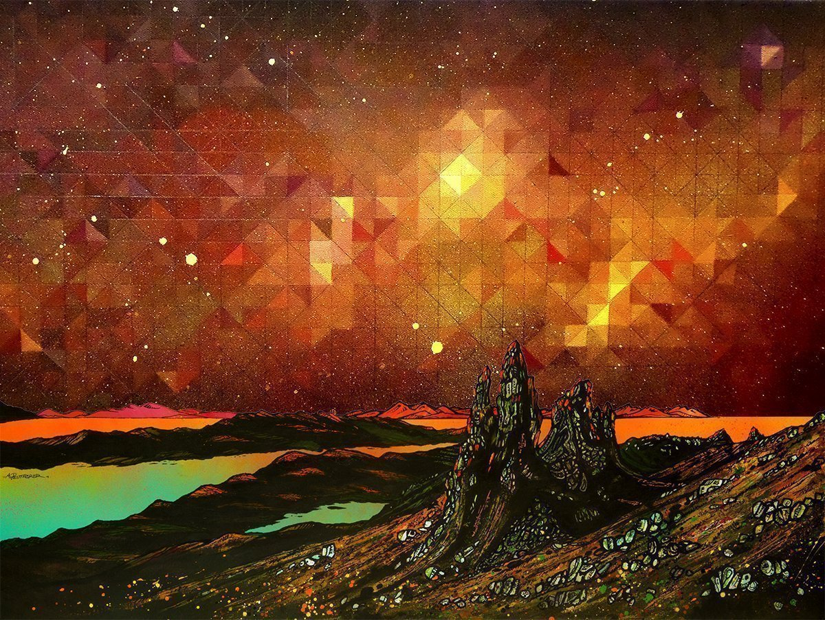 Nebula over The storr, Isle of skye - Prints of abstract geometric paintings by A Peutherer & M Campbell