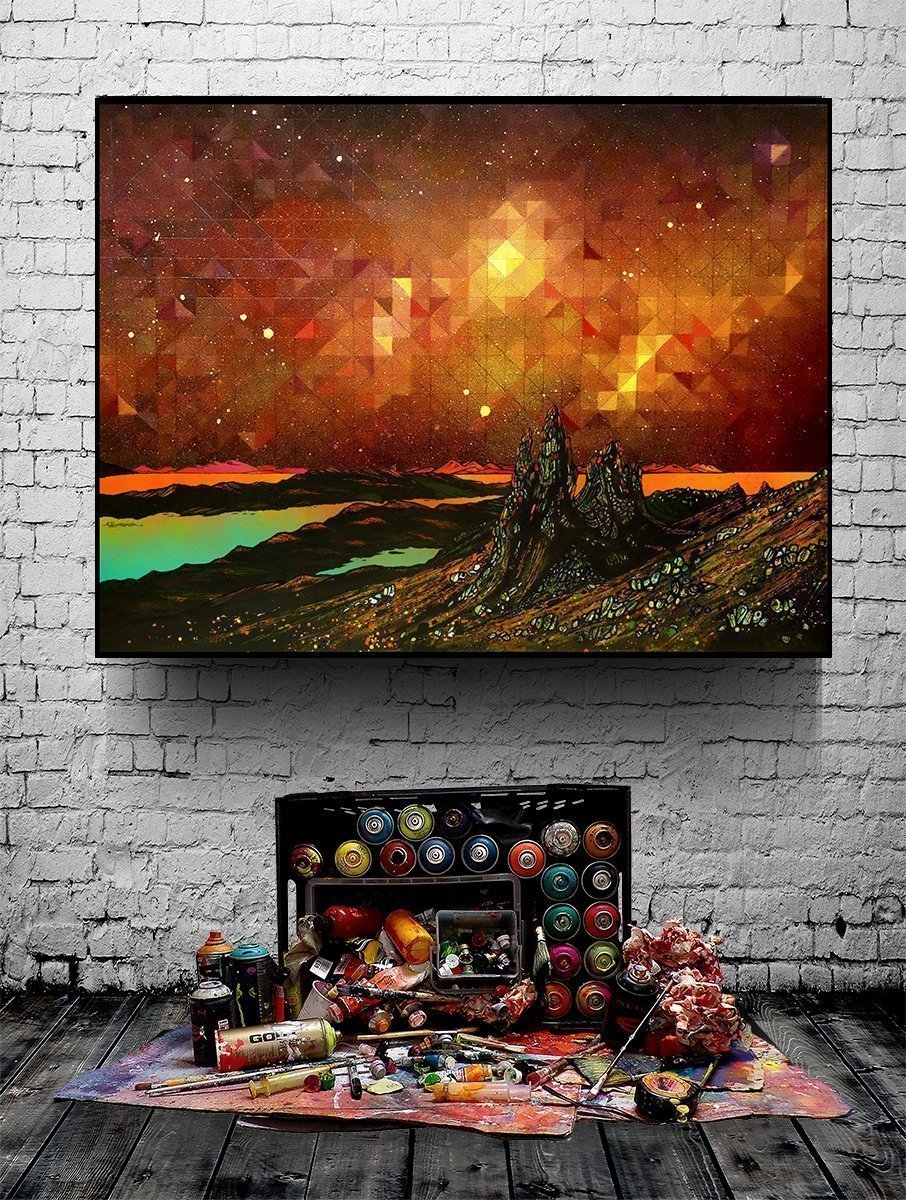 Nebula over The storr, Isle of skye - Prints of abstract geometric paintings - Block Mounted example