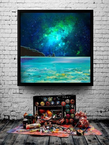 Nebula over Talisker Bay, Skye - Abstract geometric Scottish landscape art print
