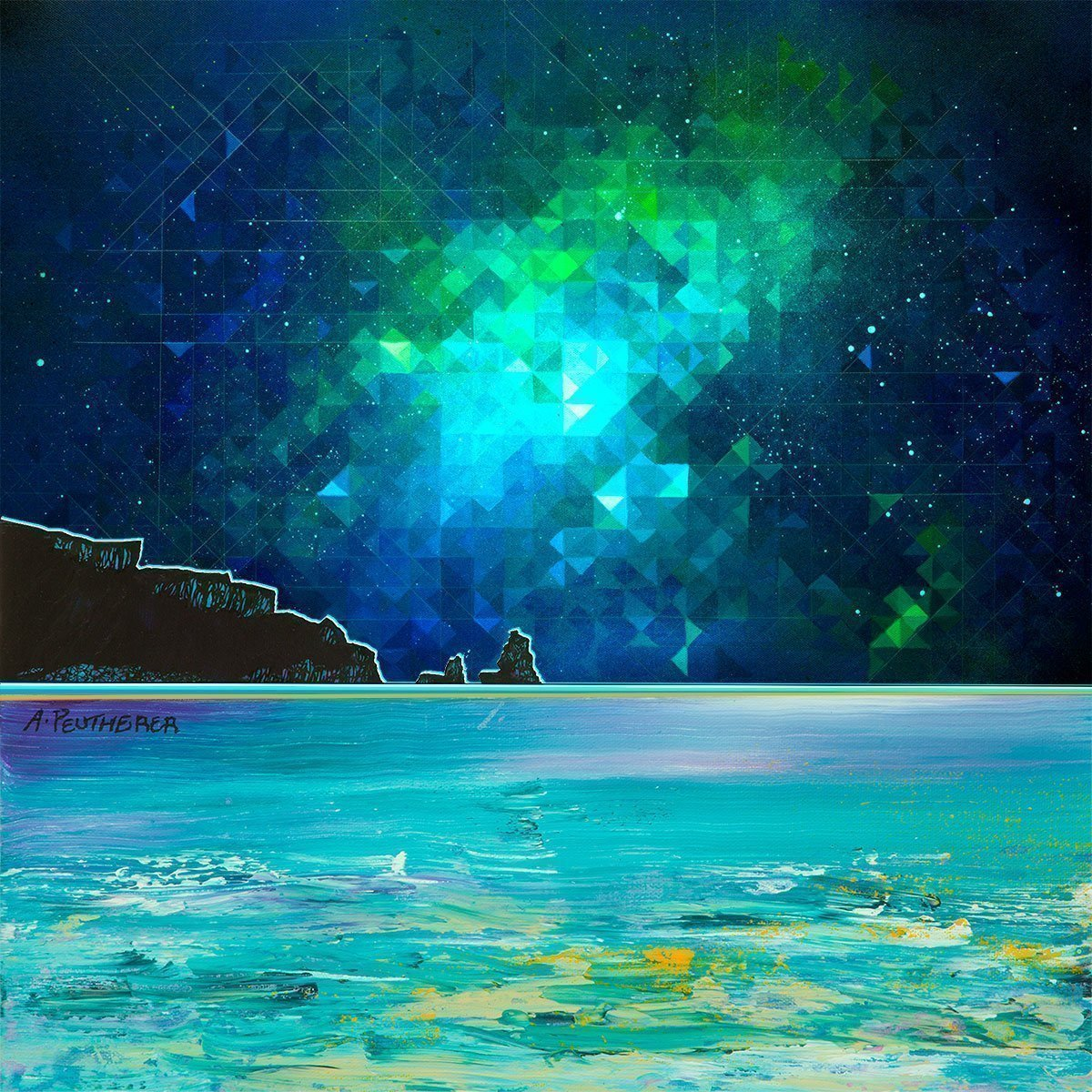 Nebula over Talisker Bay, Carbost on Skye - An abstract geometric Scottish landscape painting